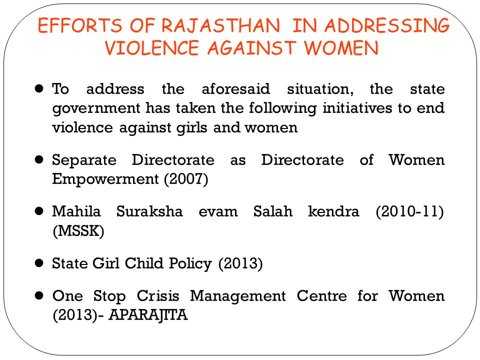EFFORTS OF RAJASTHAN IN ADDRESSING VIOLENCE AGAINST WOMEN