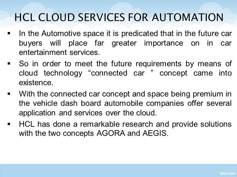 HCL CLOUD SERVICES FOR AUTOMATION