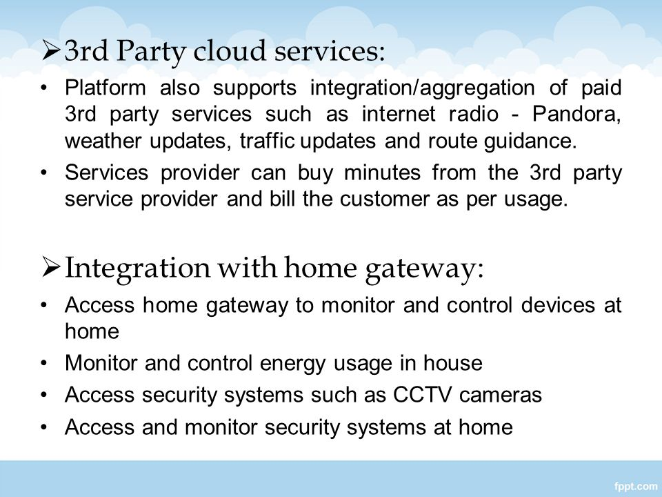 3rd Party cloud services: