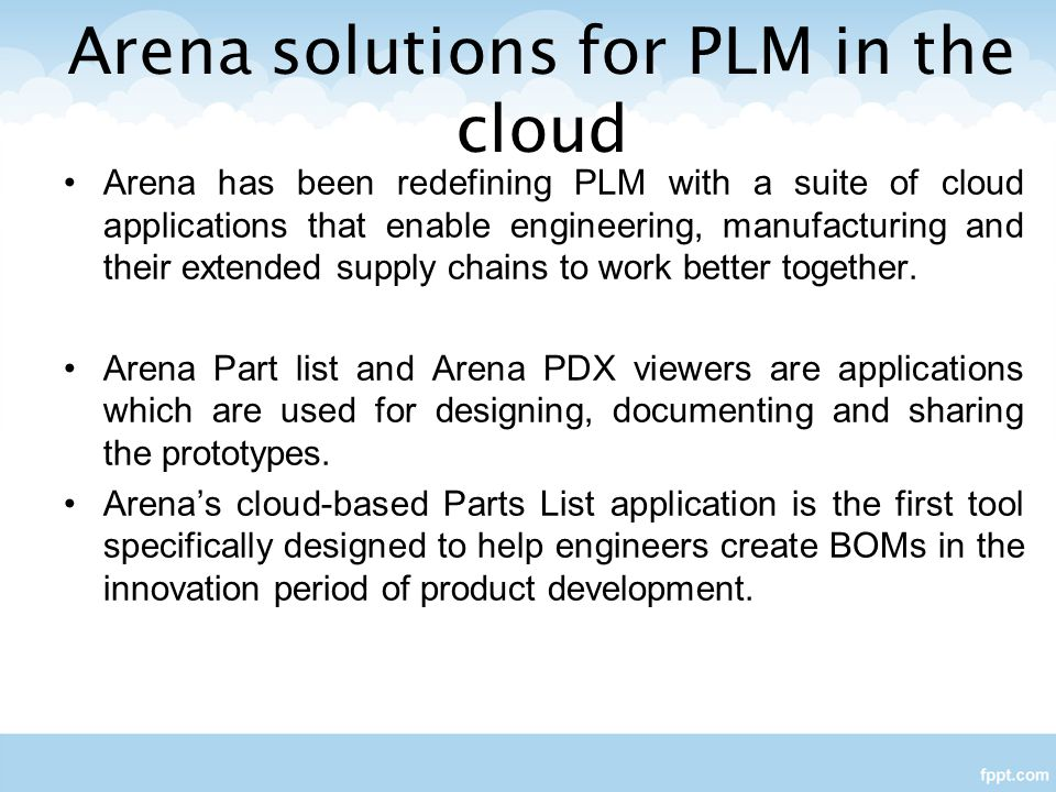 Arena solutions for PLM in the cloud