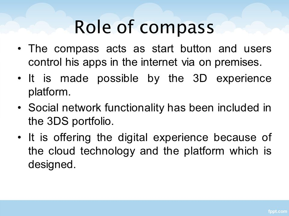 Role of compass The compass acts as start button and users control his apps in the internet via on premises.