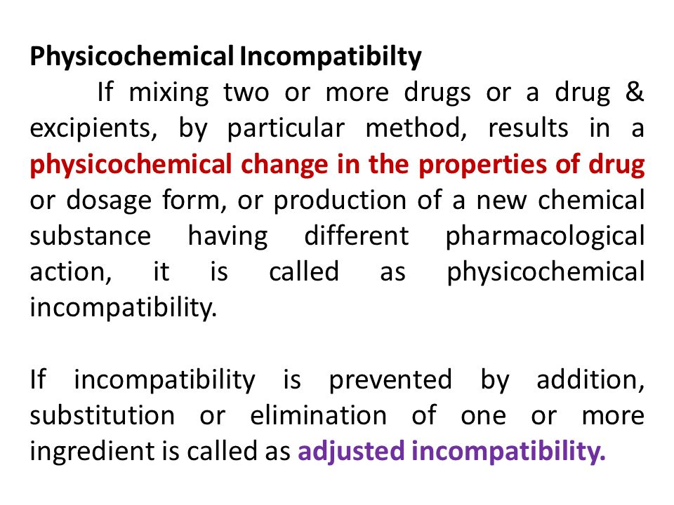Physicochemical Incompatibilty