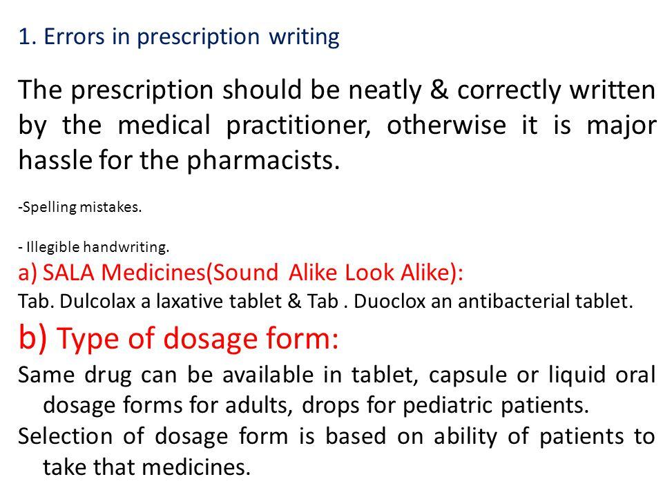 1. Errors in prescription writing