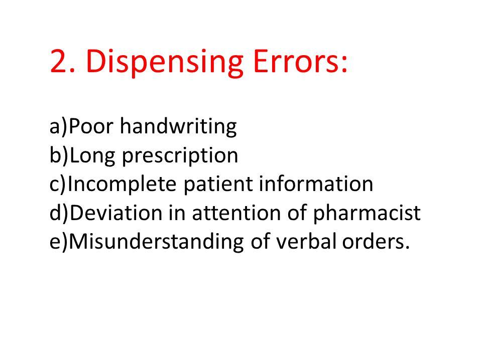 2. Dispensing Errors: Poor handwriting Long prescription