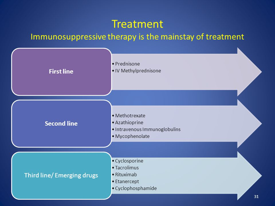 Treatment Immunosuppressive therapy is the mainstay of treatment