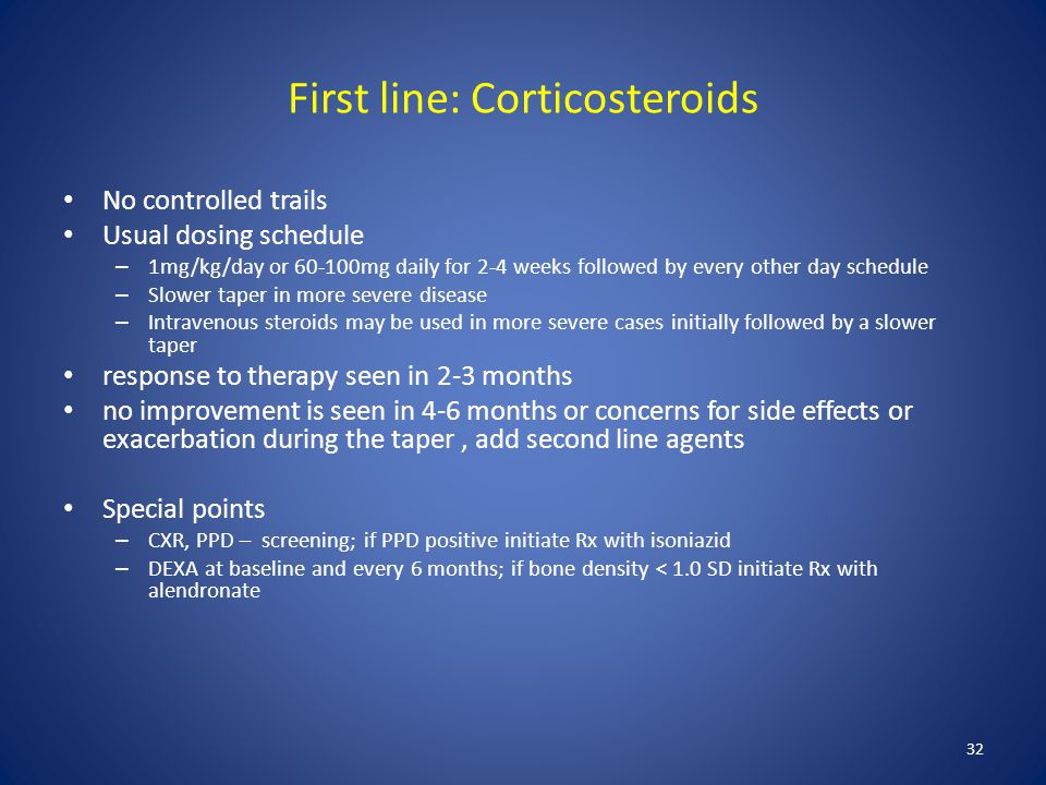 First line: Corticosteroids