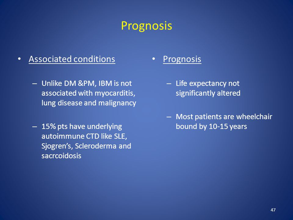 Prognosis Associated conditions Prognosis
