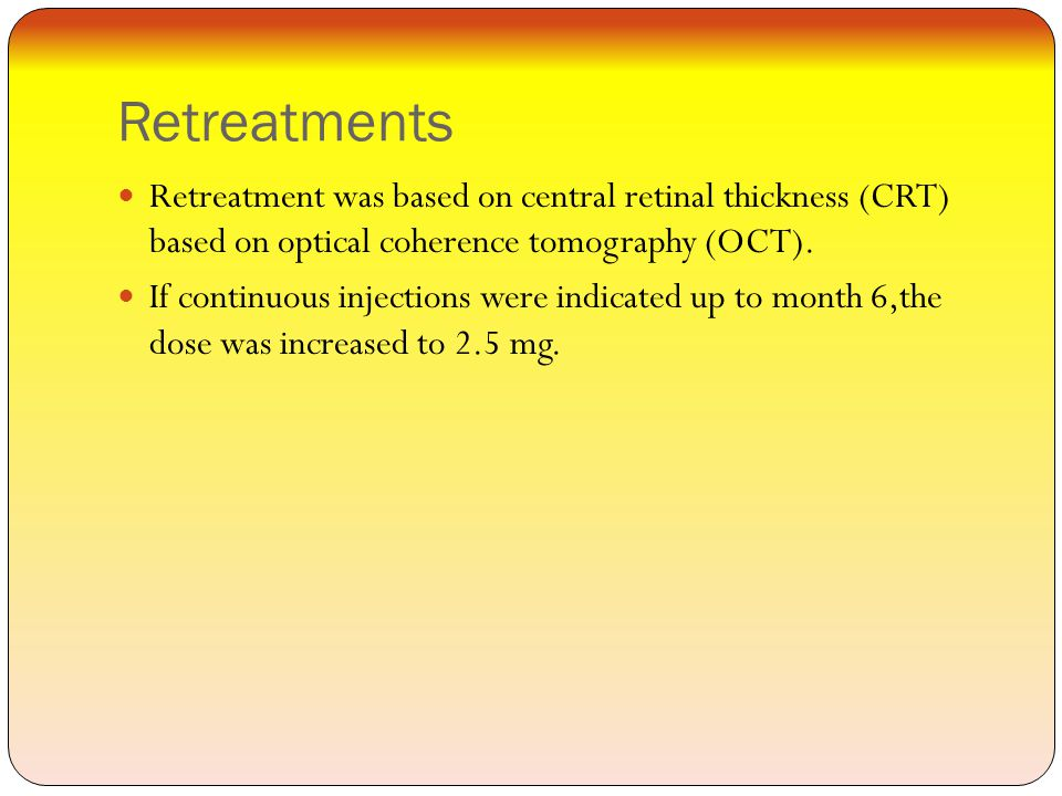 Retreatments Retreatment was based on central retinal thickness (CRT) based on optical coherence tomography (OCT).