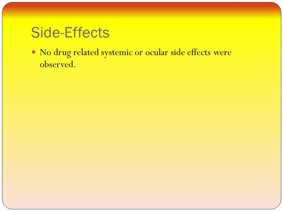 Side-Effects No drug related systemic or ocular side effects were observed.