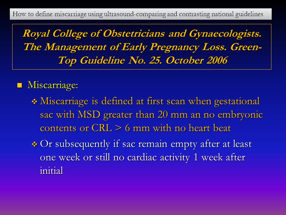 How to define miscarriage using ultrasound-comparing and contrasting national guidelines