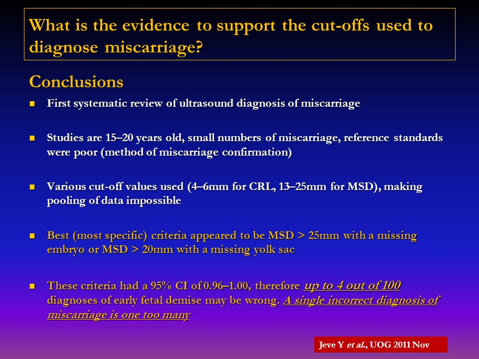 What is the evidence to support the cut-offs used to diagnose miscarriage