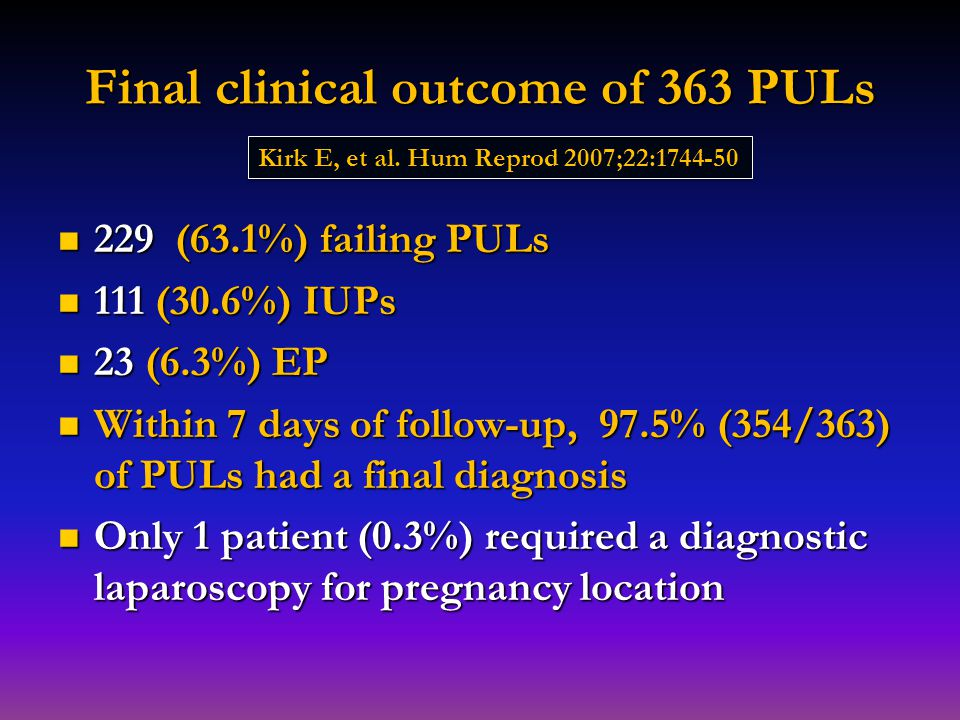 Final clinical outcome of 363 PULs