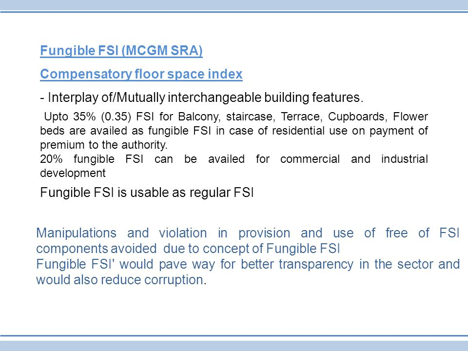 Fungible FSI (MCGM SRA) Compensatory floor space index