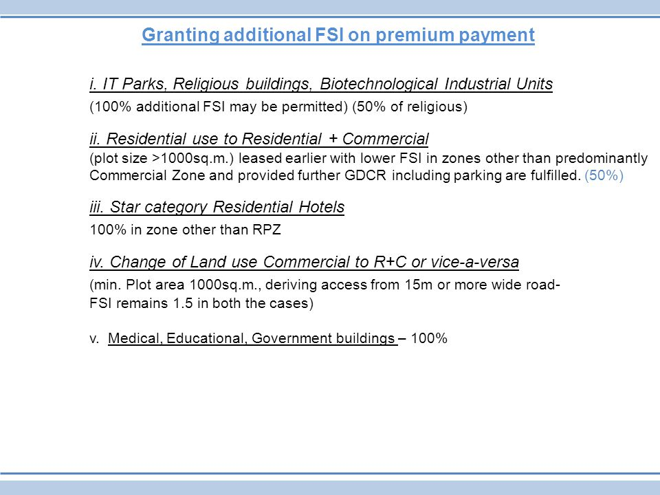 Granting additional FSI on premium payment