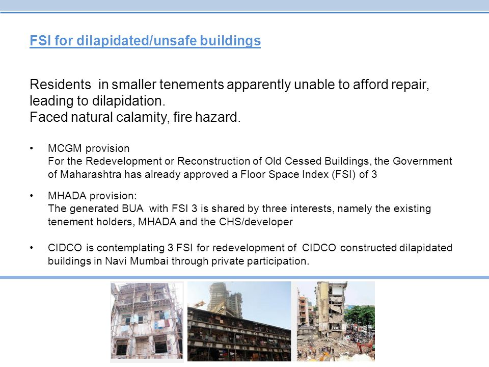 FSI for dilapidated/unsafe buildings