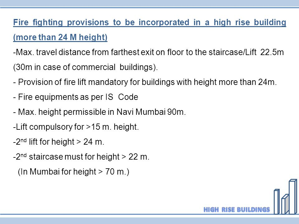 Fire fighting provisions to be incorporated in a high rise building (more than 24 M height)