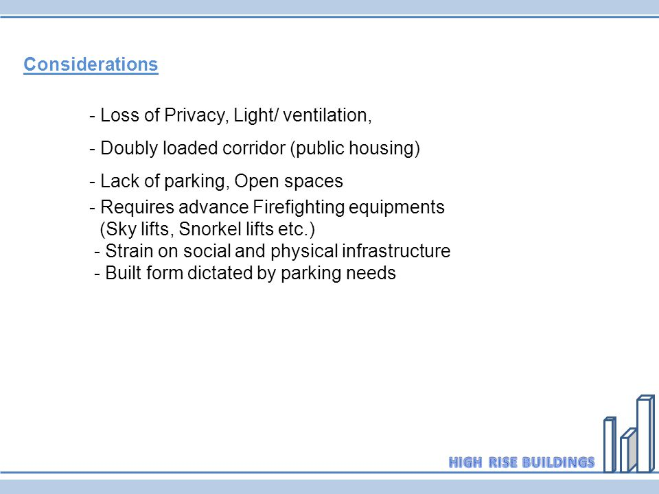 Considerations - Loss of Privacy, Light/ ventilation, - Doubly loaded corridor (public housing) - Lack of parking, Open spaces.