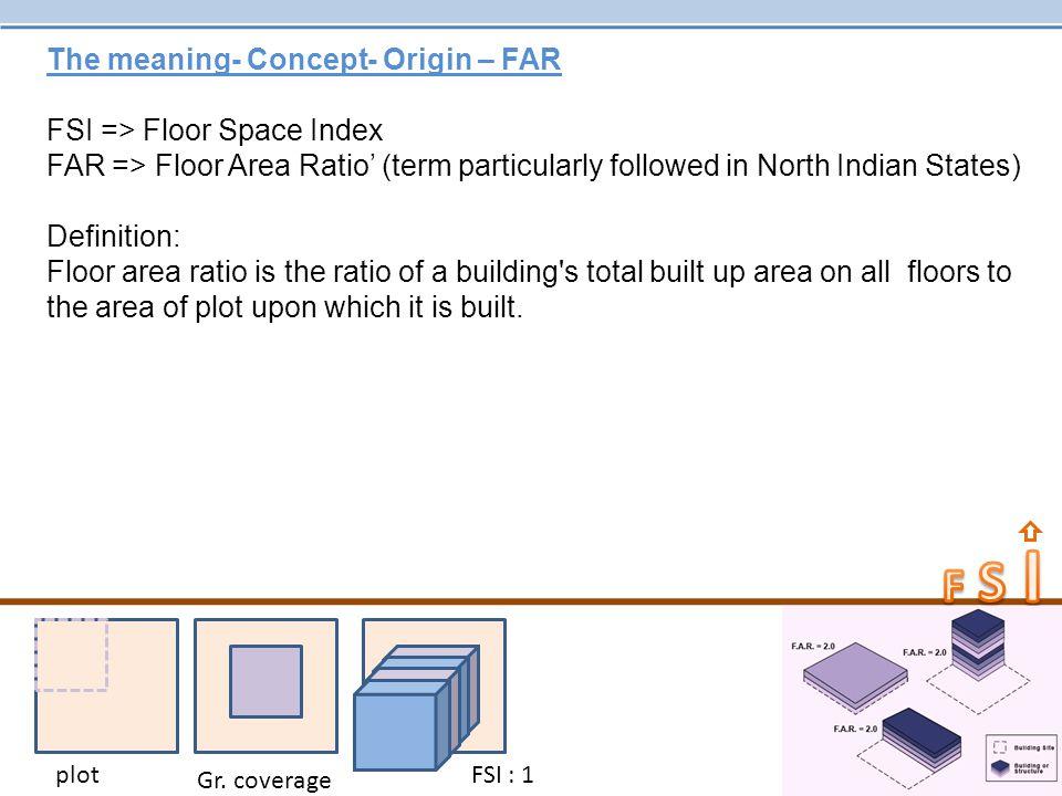 The meaning- Concept- Origin – FAR FSI => Floor Space Index