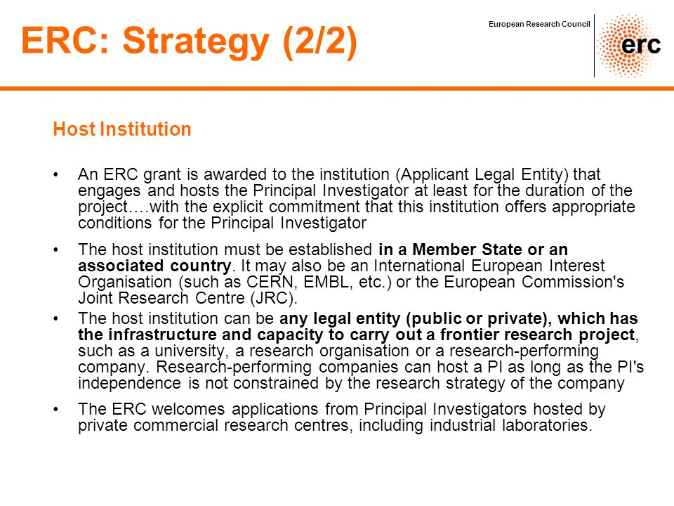 ERC: Strategy (2/2) Host Institution