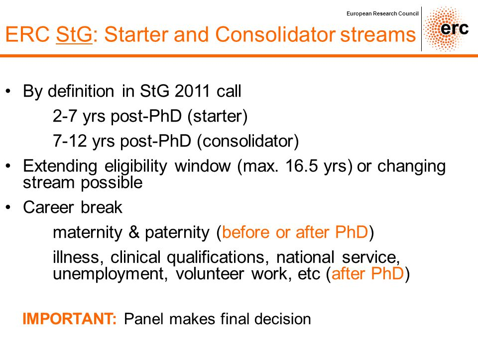 ERC StG: Starter and Consolidator streams