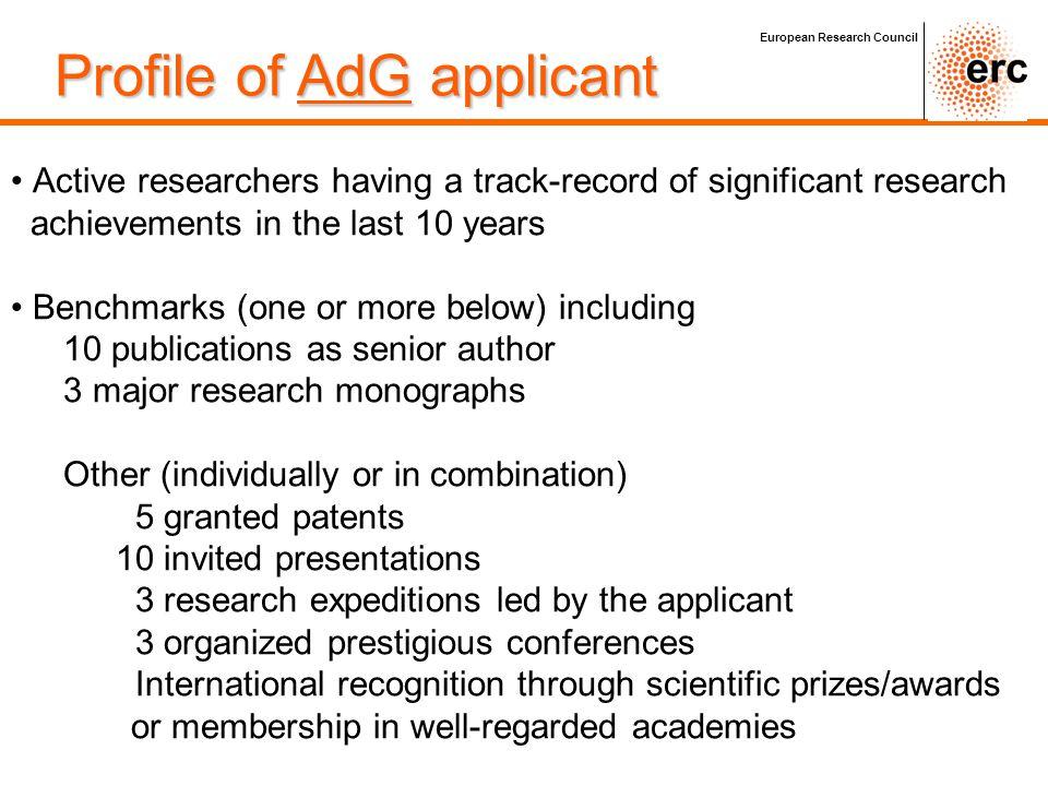 Profile of AdG applicant