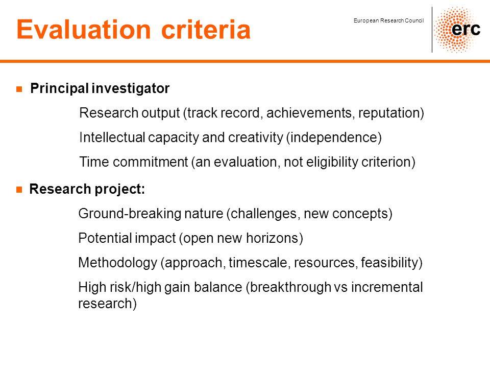 Evaluation criteria Principal investigator