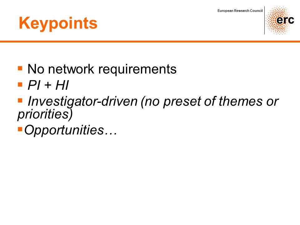 Keypoints No network requirements PI + HI
