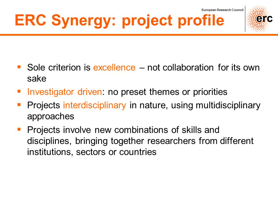 ERC Synergy: project profile