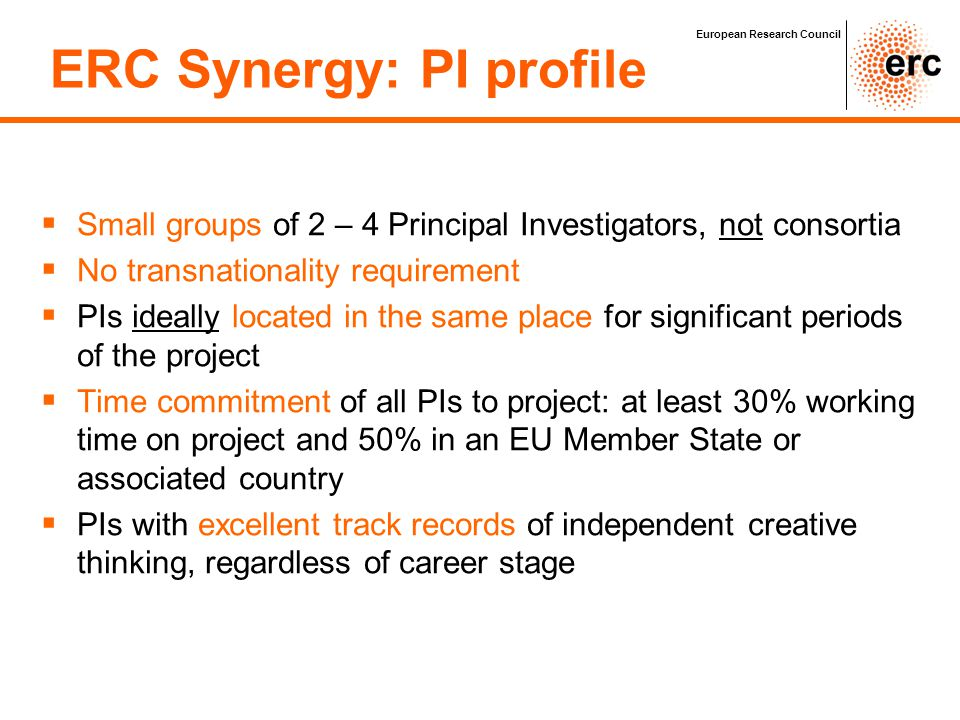 ERC Synergy: PI profile