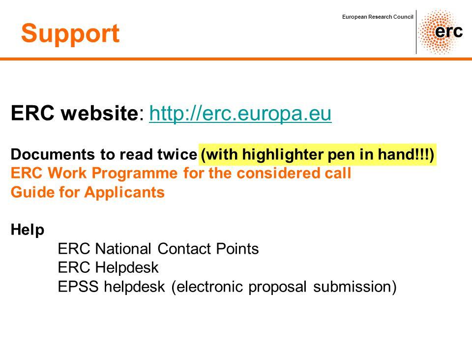 Support ERC website: http://erc.europa.eu