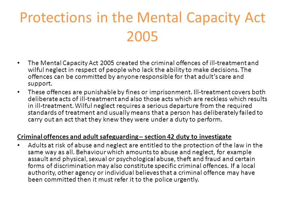 Protections in the Mental Capacity Act 2005