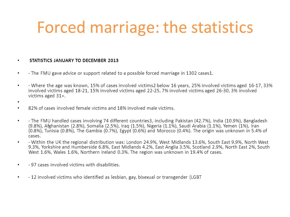 Forced marriage: the statistics