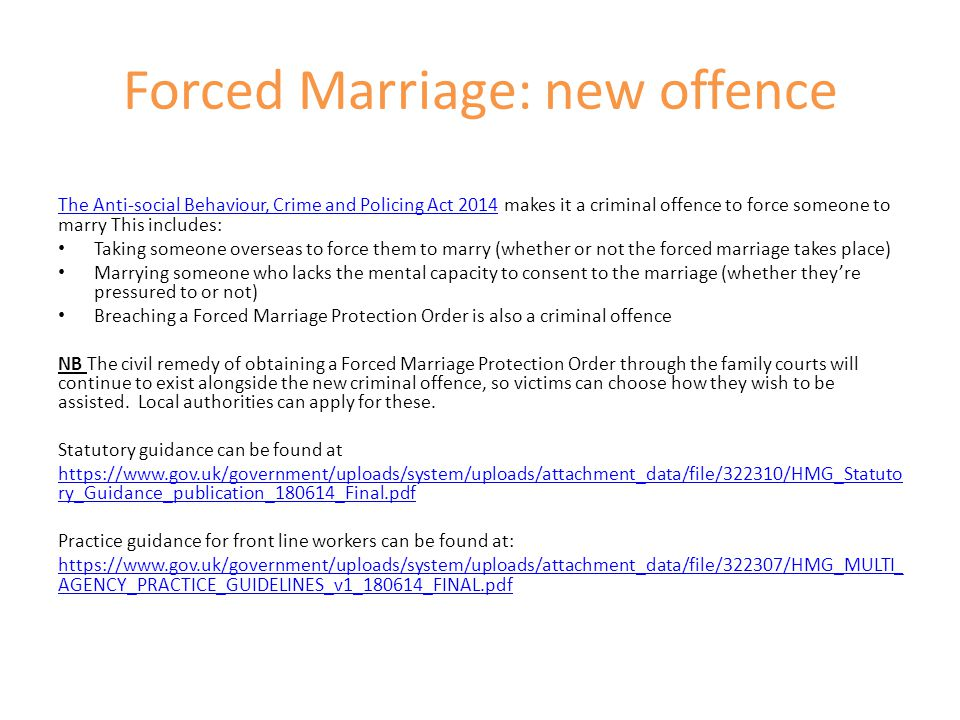 Forced Marriage: new offence