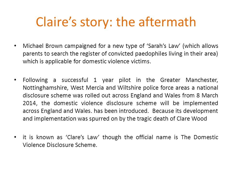Claire's story: the aftermath