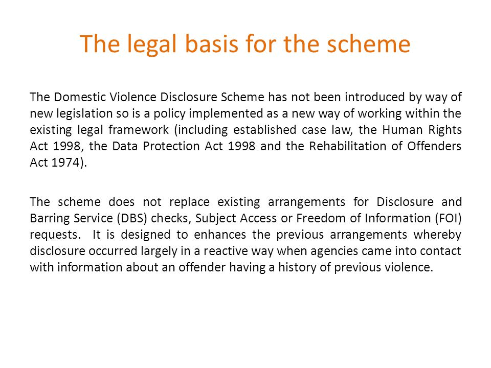 The legal basis for the scheme