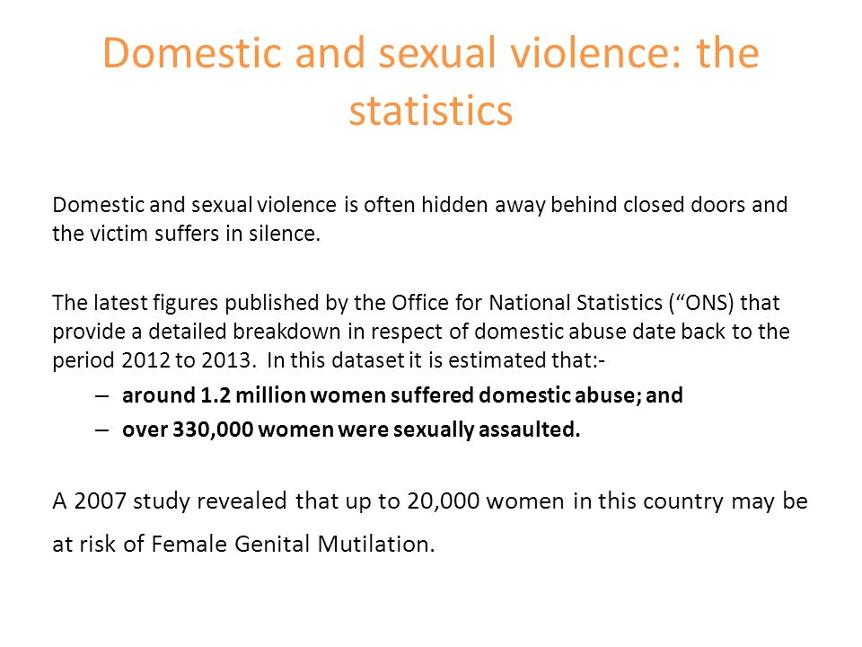 Domestic and sexual violence: the statistics
