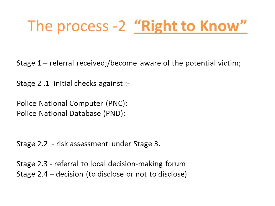 The process -2 Right to Know