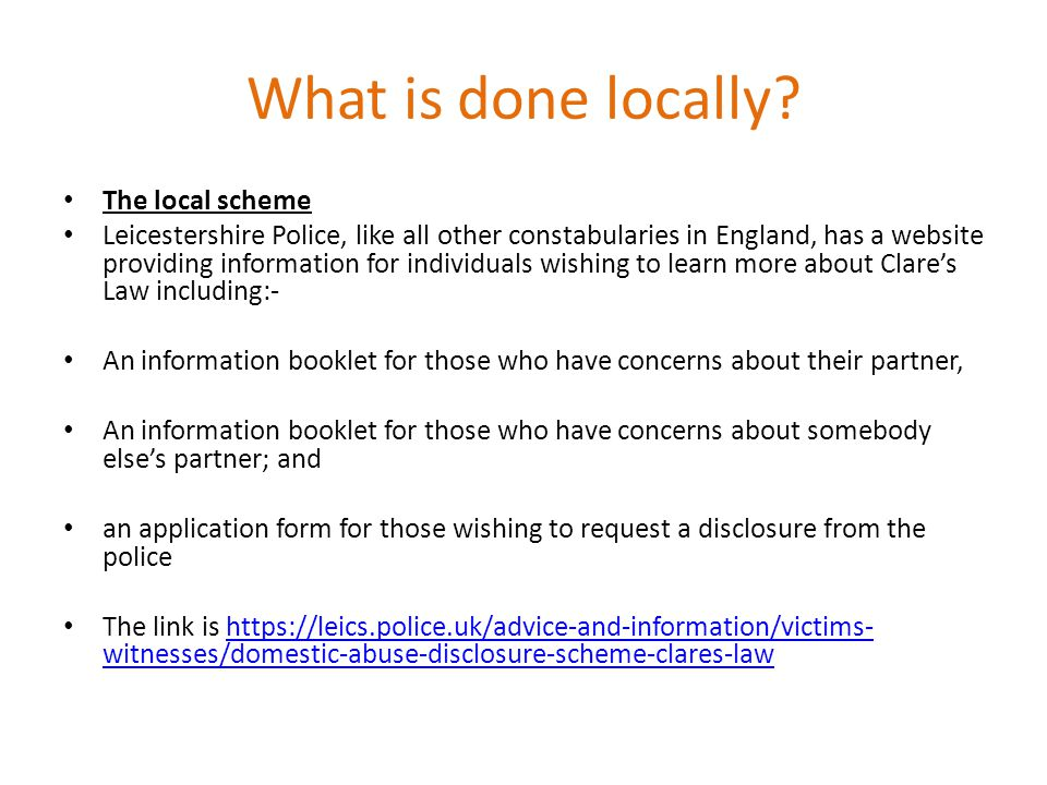 What is done locally The local scheme