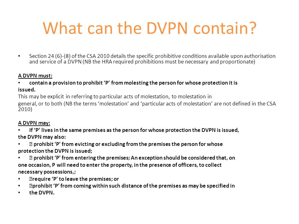 What can the DVPN contain