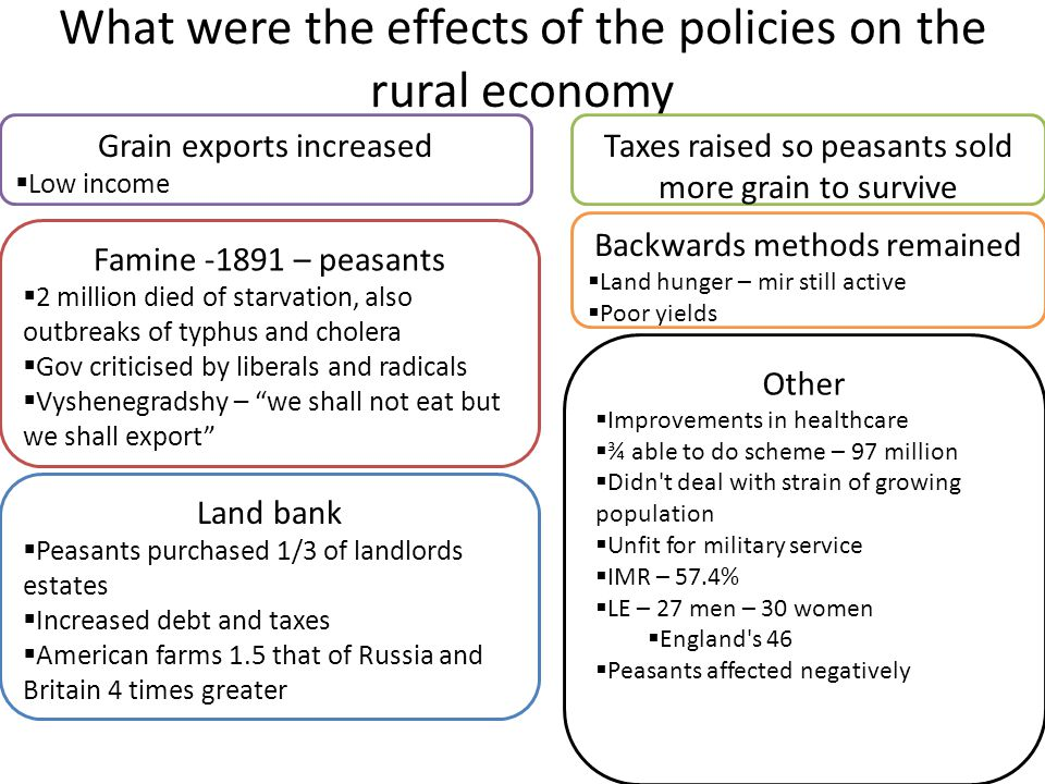 What were the effects of the policies on the rural economy