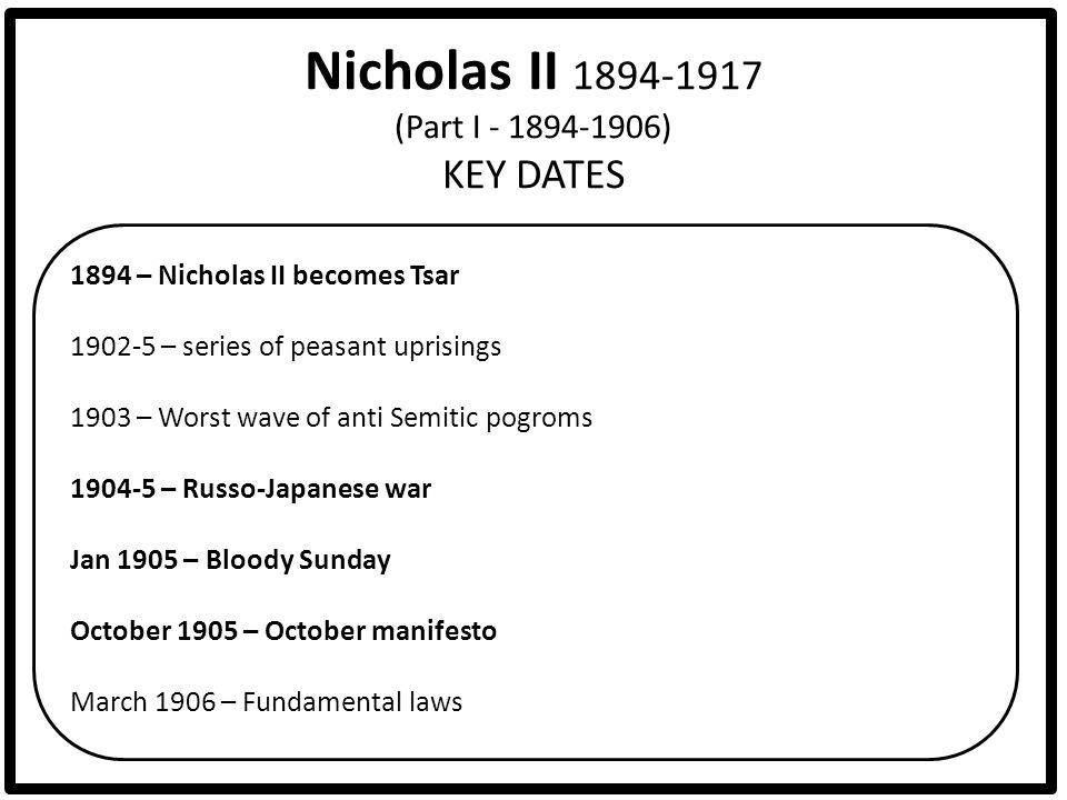 Nicholas II 1894-1917 (Part I - 1894-1906) KEY DATES