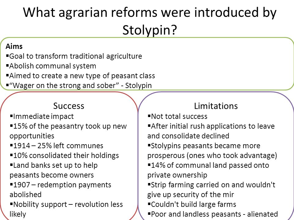 What agrarian reforms were introduced by Stolypin