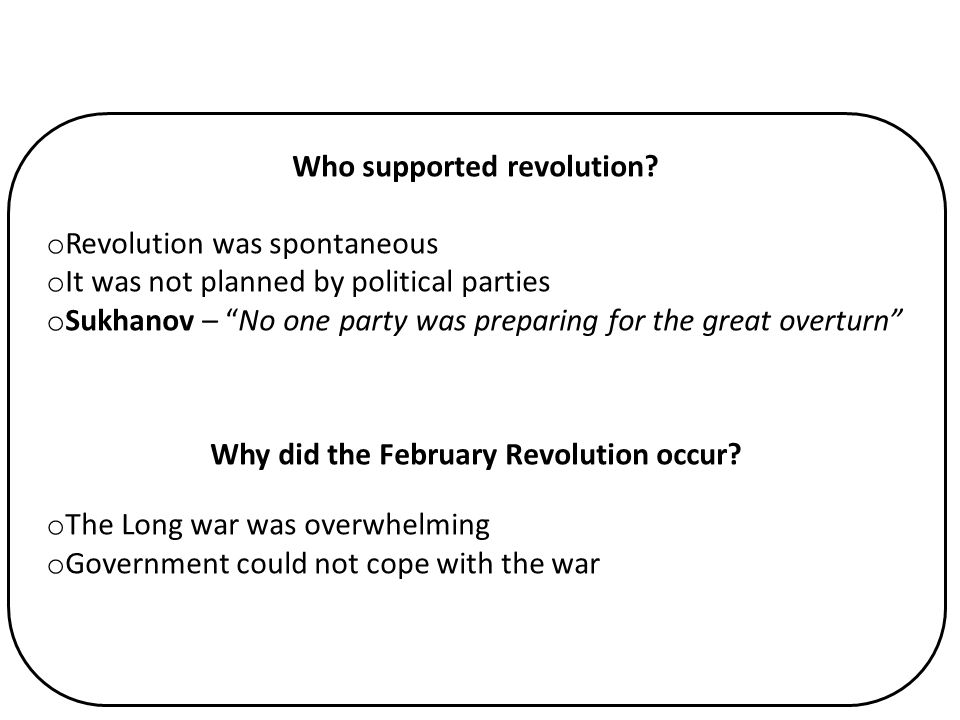 Who supported revolution