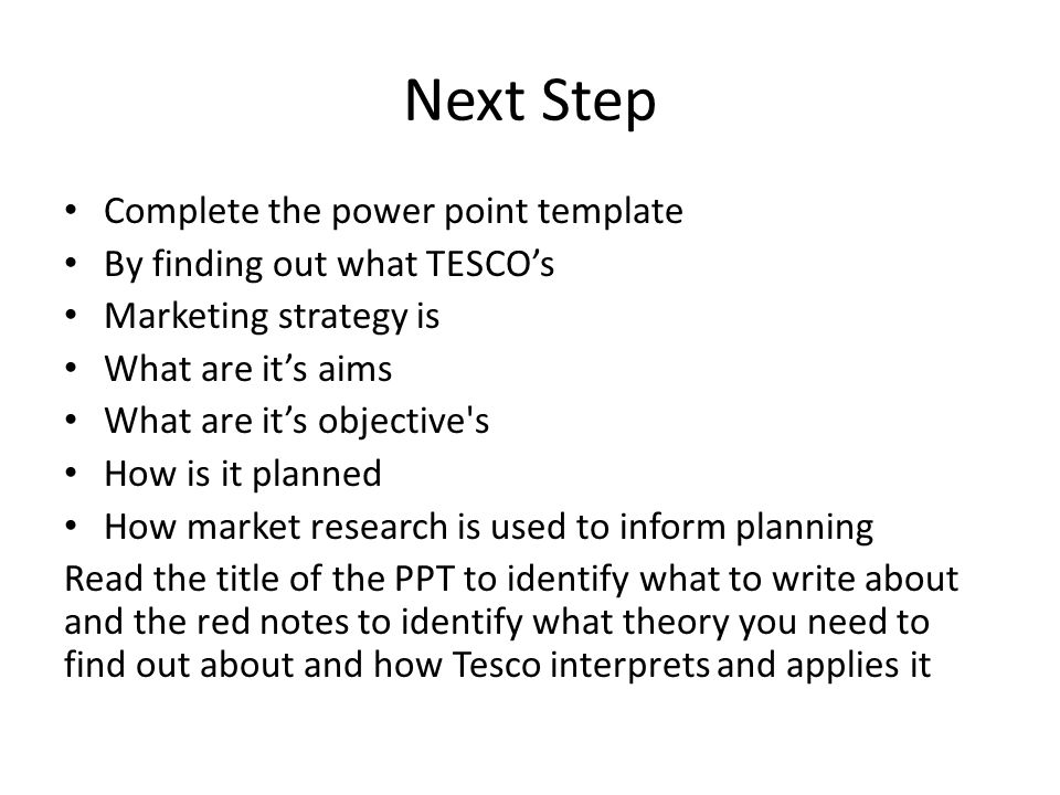 Next Step Complete the power point template