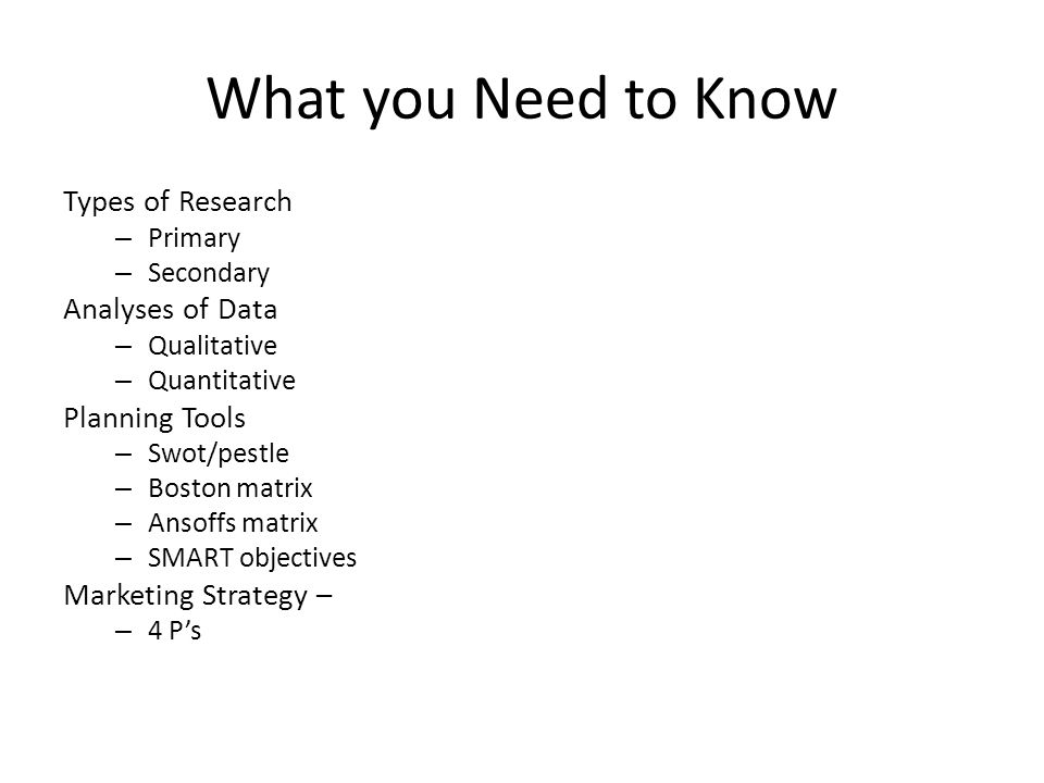 What you Need to Know Types of Research Analyses of Data