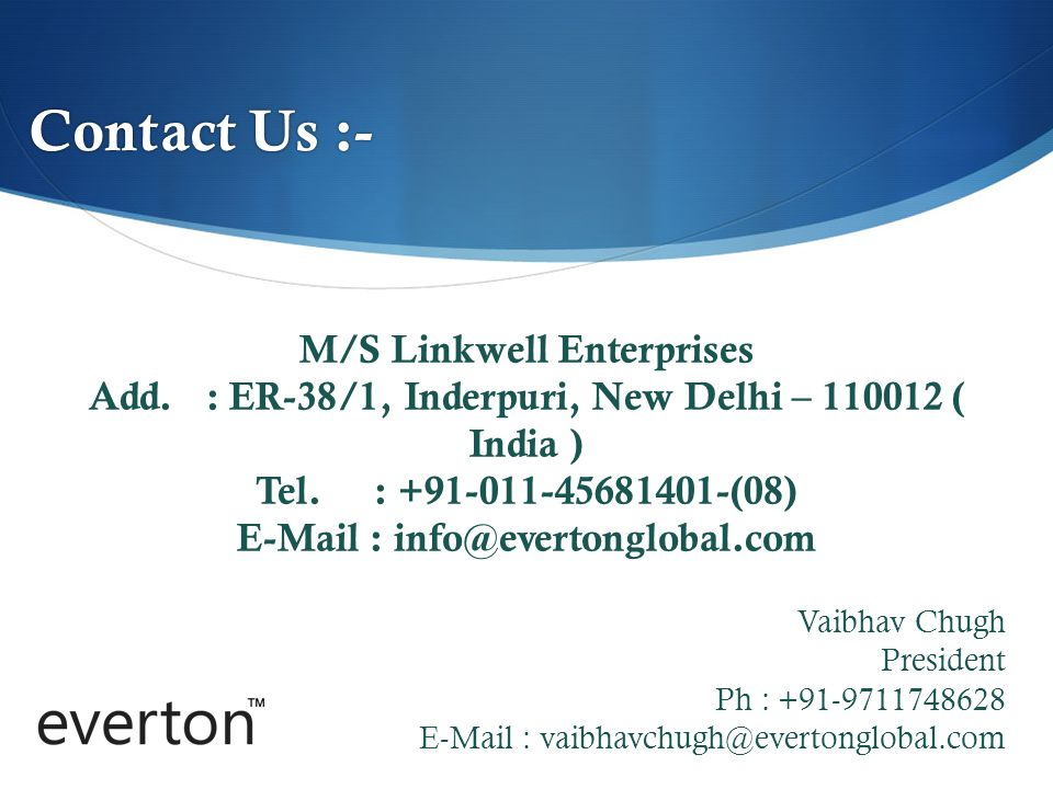 Contact Us :- M/S Linkwell Enterprises