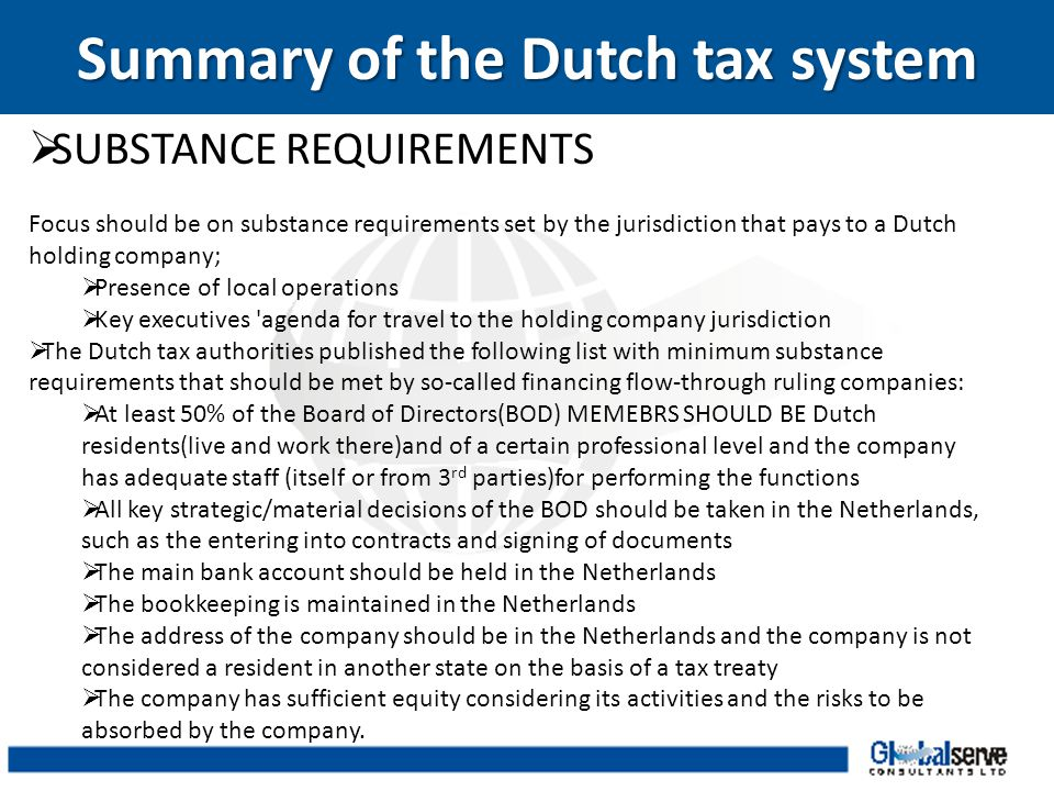 Summary of the Dutch tax system