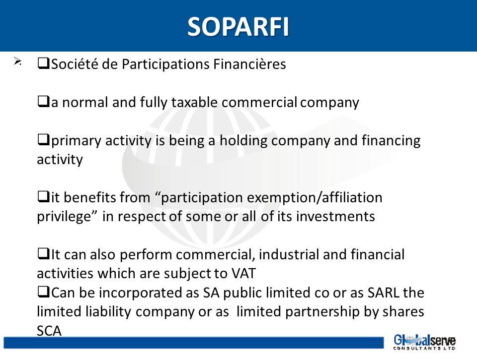SOPARFI Société de Participations Financières