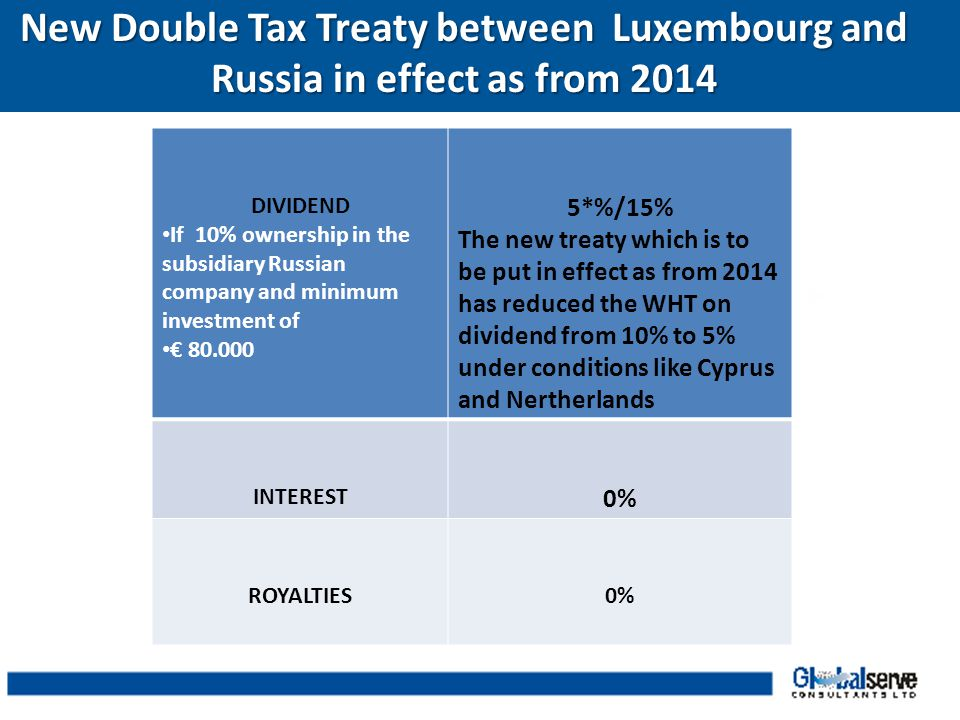New Double Tax Treaty between Luxembourg and Russia in effect as from 2014