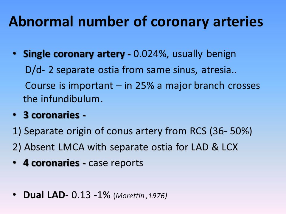 Abnormal number of coronary arteries